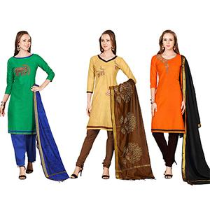Demanding Embroidered Chanderi Cotton Dress Materials - Pack of 3