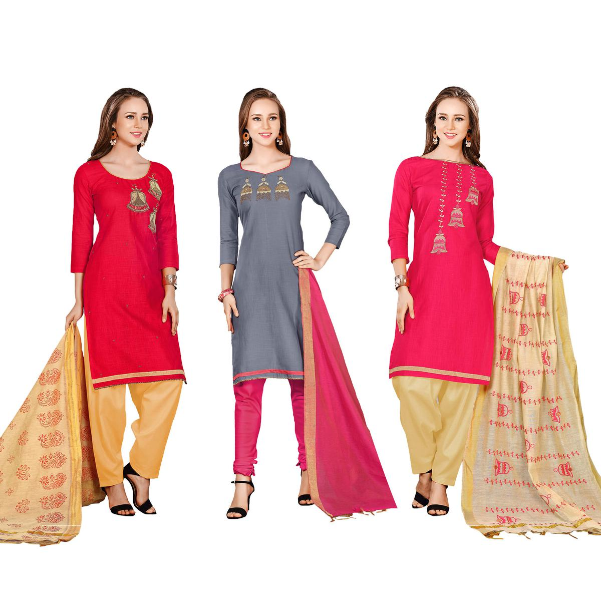5828ea864d Buy Trendy Embroidered Chanderi Cotton Dress Materials - Pack of 3 for womens  online India