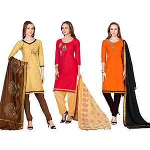 Pleasant Embroidered Chanderi Cotton Dress Materials - Pack of 3