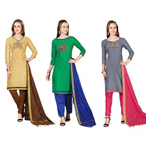 Engrossing Embroidered Chanderi Cotton Dress Materials - Pack of 3