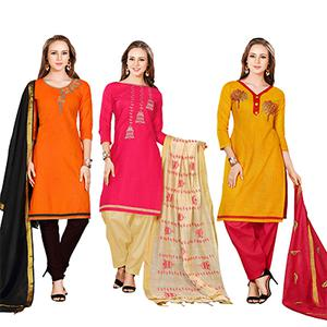 Girlish Embroidered Chanderi Cotton Dress Materials - Pack of 3