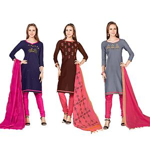 Attractive Embroidered Chanderi Cotton Dress Materials - Pack of 3