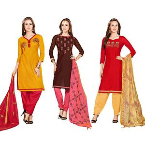 Irresistible Embroidered Chanderi Cotton Dress Materials - Pack of 3
