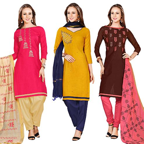 Charming Embroidered Chanderi Cotton Dress Materials - Pack of 3