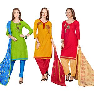 Sunshine Embroidered Chanderi Cotton Dress Materials - Pack of 3