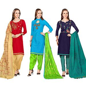 Fantastic Embroidered Chanderi Cotton Dress Materials - Pack of 3