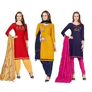 Arresting Embroidered Chanderi Cotton Dress Materials - Pack of 3