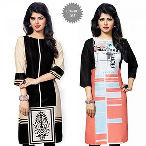 Gorgeous Black And Multi Casual Wear Printed Kurti - Pack of 2
