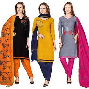 Blissful Embroidered Chanderi Cotton Dress Materials - Pack of 3