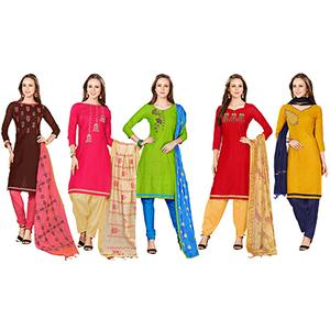 Energetic Embroidered Chanderi Cotton Dress Materials - Pack of 5