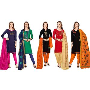 Excellent Embroidered Chanderi Cotton Dress Materials - Pack of 5