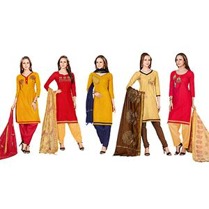 Ravishing Embroidered Chanderi Cotton Dress Materials - Pack of 5