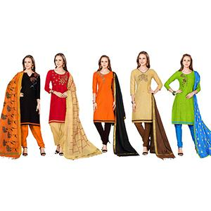 Blooming Embroidered Chanderi Cotton Dress Materials - Pack of 5