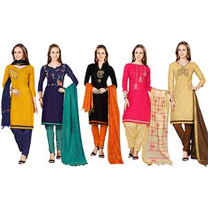 Groovy Embroidered Chanderi Cotton Dress Materials - Pack of 5