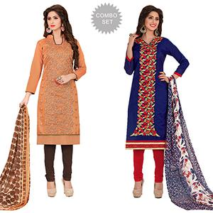 Fantastic Partywear Embroidered Chanderi Silk Suit - Pack of 2