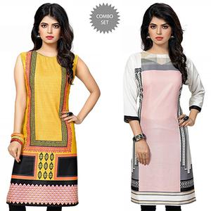 Beautiful Yellow And Pink Casual Wear Printed Kurti - Pack of 2