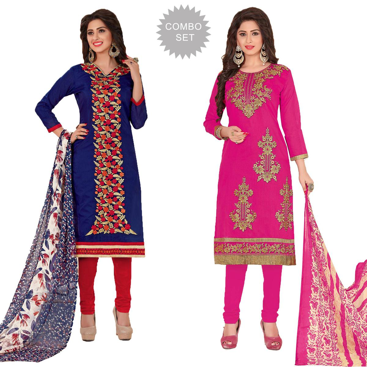 Deserving Partywear Embroidered Chanderi Silk Suit - Pack of 2