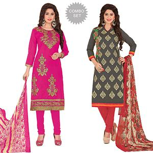 Beautiful Partywear Embroidered Chanderi Silk Suit - Pack of 2