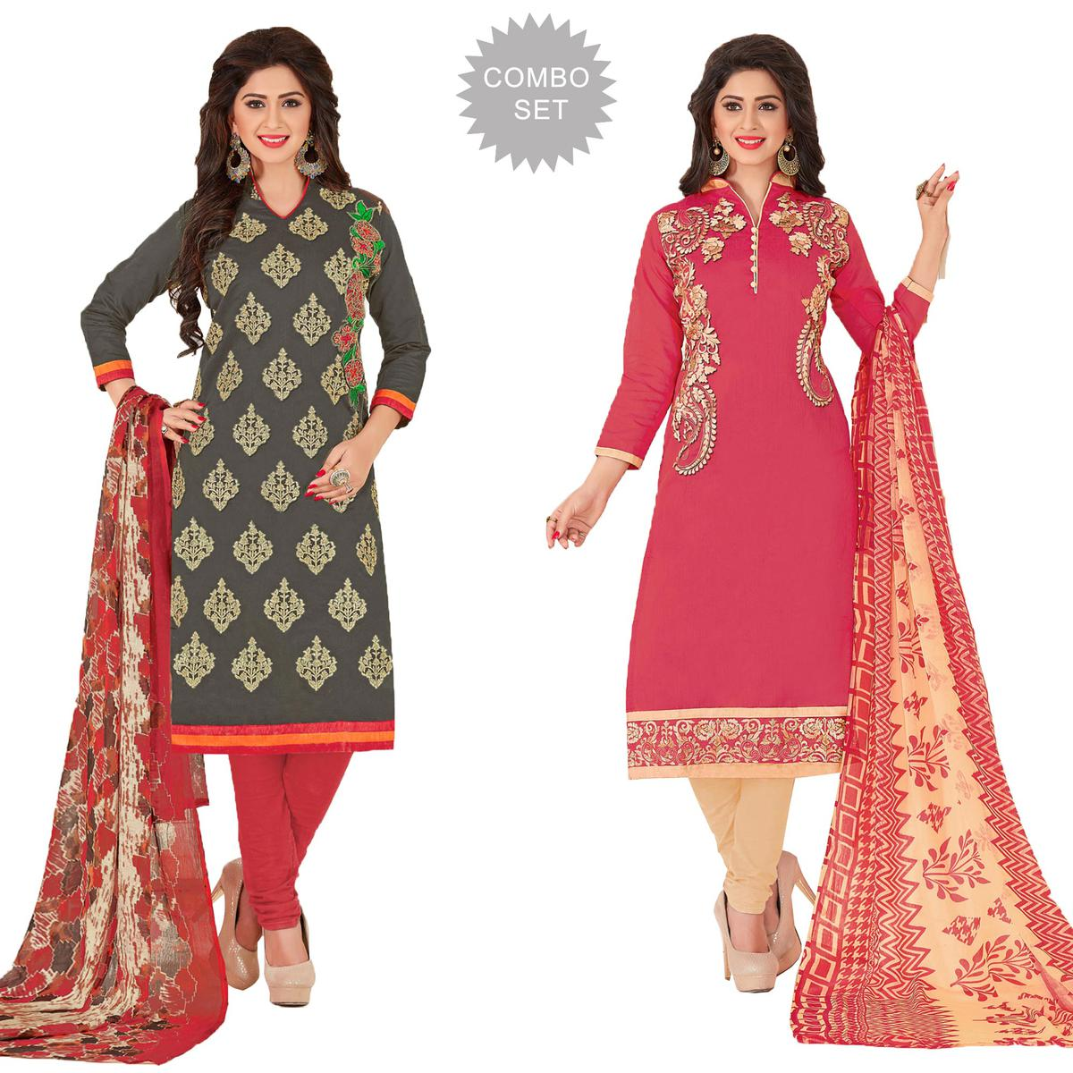 Mesmerising Partywear Embroidered Chanderi Silk Suit - Pack of 2