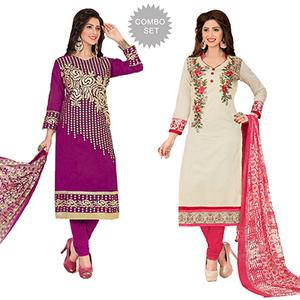 Flaunt Partywear Embroidered Chanderi Silk Suit - Pack of 2