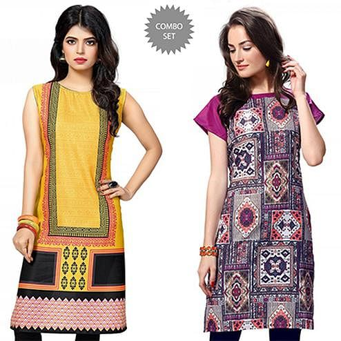 Eternal Yellow And Multi Casual Wear Printed Kurti - Pack of 2