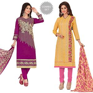 Lovely Partywear Embroidered Chanderi Silk Suit - Pack of 2