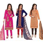Mesmeric Partywear Embroidered Chanderi Silk Suit - Pack of 3