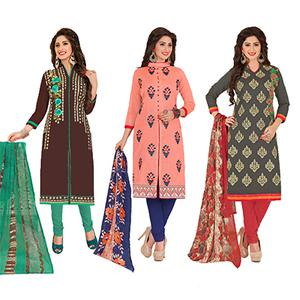 Gleaming Partywear Embroidered Chanderi Silk Suit - Pack of 3