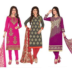 Sensational Partywear Embroidered Chanderi Silk Suit - Pack of 3