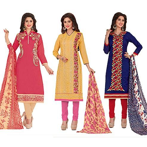 Fantastic Partywear Embroidered Chanderi Silk Suit - Pack of 3