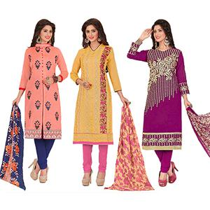 Pleasance Partywear Embroidered Chanderi Silk Suit - Pack of 3