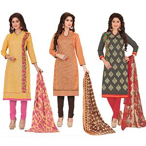 Irresistible Partywear Embroidered Chanderi Silk Suit - Pack of 3