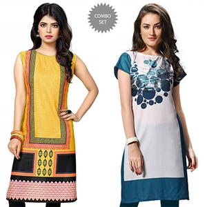 Precious Yellow And White Casual Wear Printed Kurti - Pack of 2