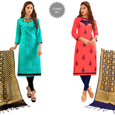 Exciting Partywear Embroidered Cotton Suit With Pure Banarasi Silk Dupatta - Pack of 2
