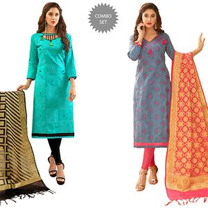 Ravishing Partywear Embroidered Cotton Suit With Pure Banarasi Silk Dupatta - Pack of 2