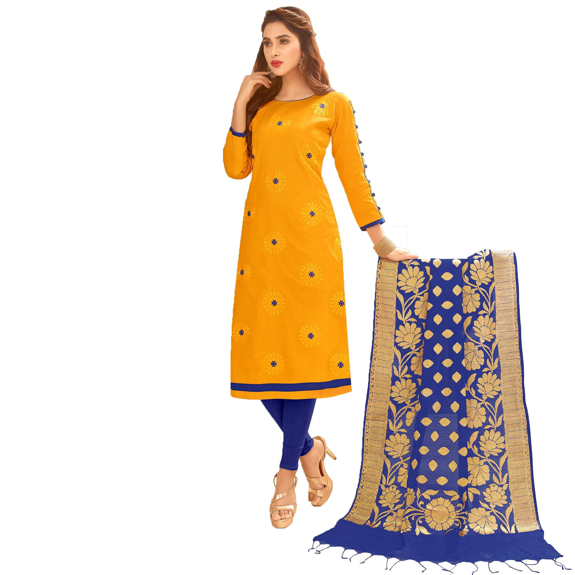 Blooming Partywear Embroidered Cotton Suit With Pure Banarasi Silk Dupatta - Pack of 2