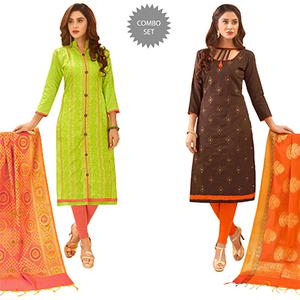 Beautiful Partywear Embroidered Cotton Suit With Pure Banarasi Silk Dupatta - Pack of 2