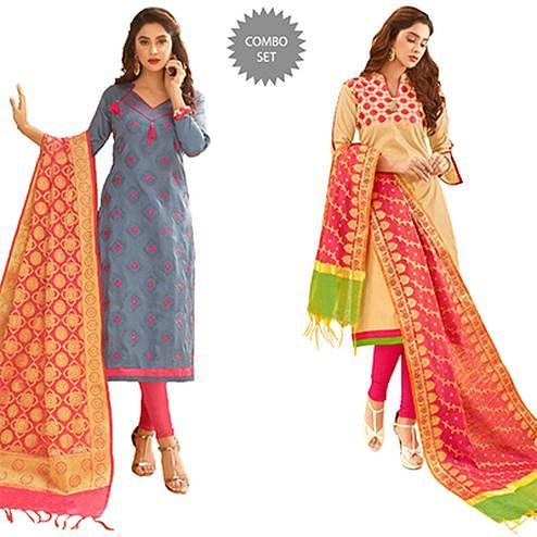Demanding Partywear Embroidered Cotton Suit With Pure Banarasi Silk Dupatta - Pack of 2