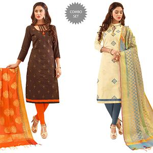 Desiring Partywear Embroidered Cotton Suit With Pure Banarasi Silk Dupatta - Pack of 2