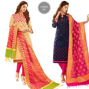 Attractive Partywear Embroidered Cotton Suit With Pure Banarasi Silk Dupatta - Pack of 2