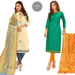 Refreshing Partywear Embroidered Cotton Suit With Pure Banarasi Silk Dupatta - Pack of 2