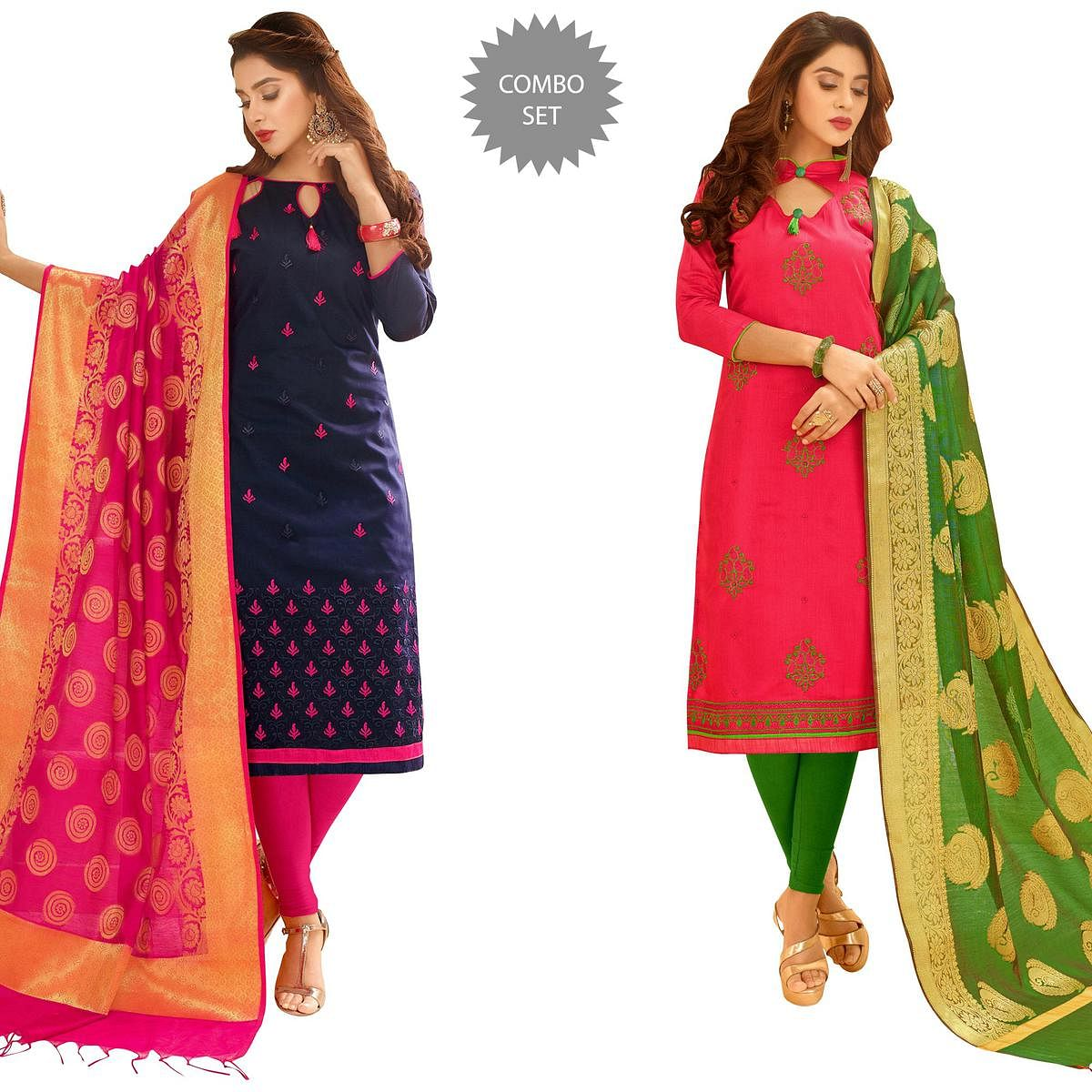 18feed8464 Buy Majestic Partywear Embroidered Cotton Suit With Pure Banarasi Silk  Dupatta - Pack of 2 for womens online India, Best Prices, Reviews -  Peachmode