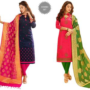 Majestic Partywear Embroidered Cotton Suit With Pure Banarasi Silk Dupatta - Pack of 2