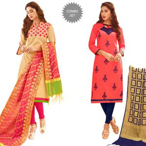 Lovely Partywear Embroidered Cotton Suit With Pure Banarasi Silk Dupatta - Pack of 2