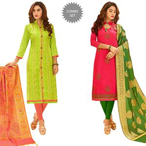 Groovy Partywear Embroidered Cotton Suit With Pure Banarasi Silk Dupatta - Pack of 2