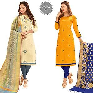 Stylish Partywear Embroidered Cotton Suit With Pure Banarasi Silk Dupatta - Pack of 2
