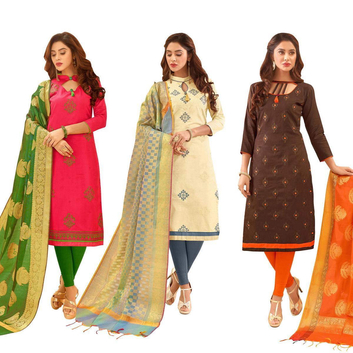 a5cbc250e7 Buy Irresistible Partywear Embroidered Cotton Suit With Pure Banarasi Silk  Dupatta - Pack of 3 for womens online India, Best Prices, Reviews -  Peachmode