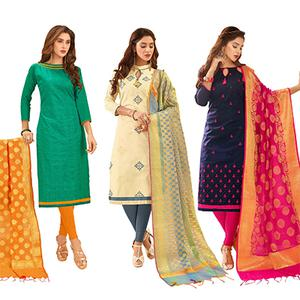 Appealing Partywear Embroidered Cotton Suit With Pure Banarasi Silk Dupatta - Pack of 3