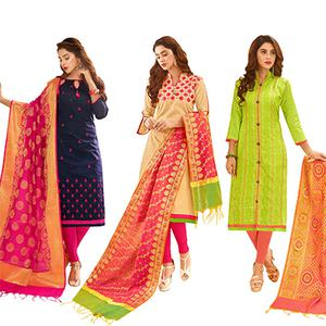 Dazzling Partywear Embroidered Cotton Suit With Pure Banarasi Silk Dupatta - Pack of 3