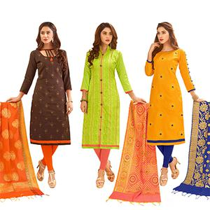 Exotic Partywear Embroidered Cotton Suit With Pure Banarasi Silk Dupatta - Pack of 3